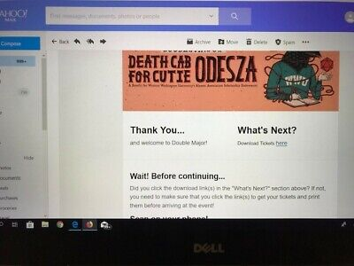 One Pair of Double Major Tickets 5/18/2019 Bellingham Death Cab for Cutie Odesza