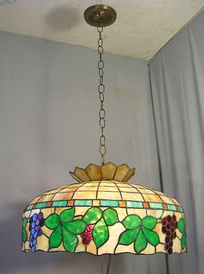 Antique Arts & Crafts LEADED SLAG GLASS Hanging Chandelier Ceiling Light Table