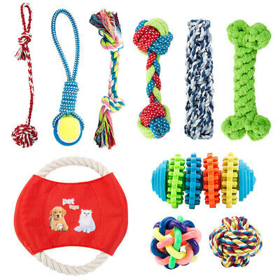 10x Dog Chew Knot Toys Teddy Pet Puppy Teeth Bear Braided Tough Strong Rope OZ