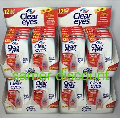 60 Pack Of Clear Eyes Drops Redness Relief 0.2 Oz.6 Ml Exp( 2022 )Up To 12 Hrs
