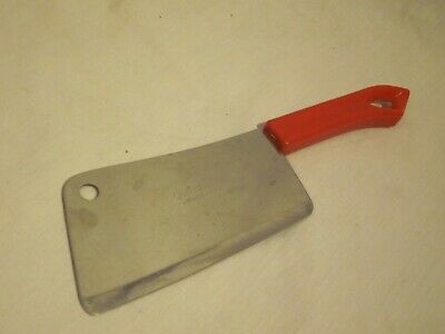 vintage Quikut meat cleaver Fremont Ohio red handle cutlery butcher knife