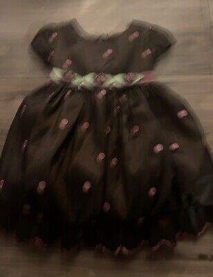 Bonnie Baby Girls Dress Size 12 Months Brown Pink Green