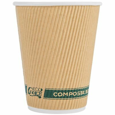 EcoChoice 12 oz. Sleeveless Kraft Compostable and Biodegradable Paper Hot...