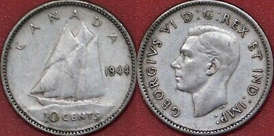 Very Fine 1944 Canada Silver 10 Cents
