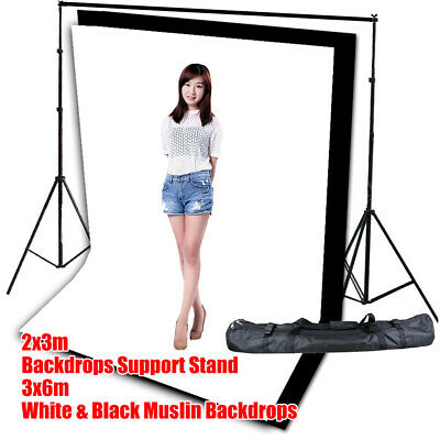 10FT Background Photography Stand Photo Studio 3X6m Black White Backdrop Muslin