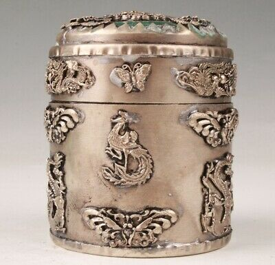 China Tibetan Silver Hand Carving Dragon And Phoenix Toothpick Box Collection