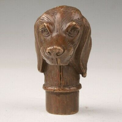Chinese Bronze Hand-Cast Dog Statue Walking Stick Head Gift Handle Collection