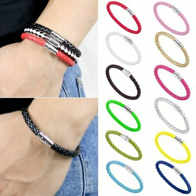 Mens Womens PU Leather 6mm Braided Wristband Bracelet Magnetic Clasp Gift AU