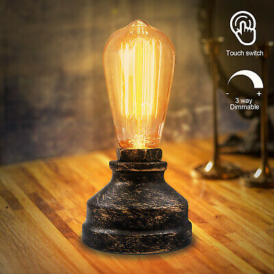 Vintage Touch Control Table Lamp Desk Lamp Small Industrial Touch Light Dimmable