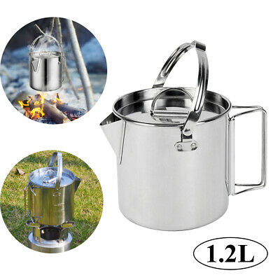 1.2L Stainless Steel Outdoor Picnic Camping Cooking Kettle Hanging Pot With Lid