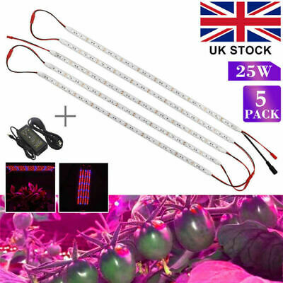 5PcsX LED Plant Grow Light Strip Indoor Flexible Bar Lamp 5050SMD+12V 5A Adapter