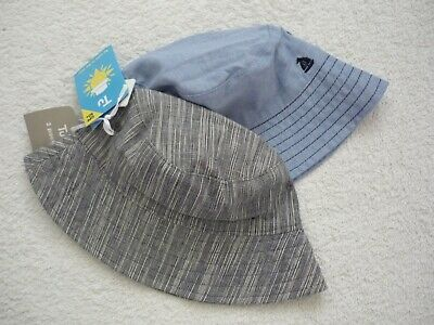 BNWT Baby Boys Pack of 2 Blue & Grey UPF50+ UV Sunsafe Cotton Summer Sun Hats