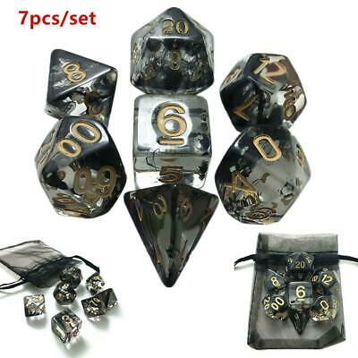 7Pcs Poly Nebula Black Dice Set Polyhedral Dices With Bag For DND Table Games