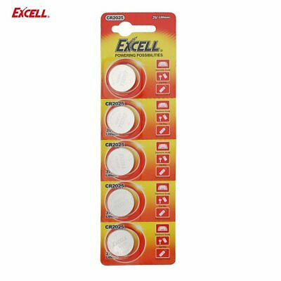 EXCELL 5pcs 3V CR2025 Lithium Coin Cell Button Battery for Toys Remote Battery T