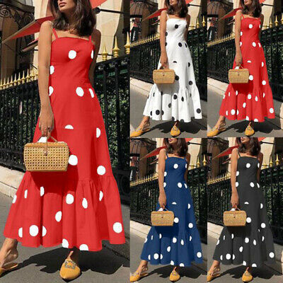 Ladies Sexy Backless Dots Mini Skirt Square Neck Boho Elegant Straps Maxi Dress