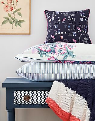 Joules Home Cottage Garden Floral Navy Cushion in BLUE PLANT POTS in One Size