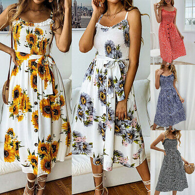 Summer Casual Women's Sleeveless Floral Printed Button Down Belted Midi Dress