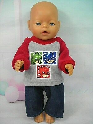"Dolls clothes for 17"" Baby Born/Cabbage Patch doll~PJ MASKS GREY/RED TOP~JEANS"