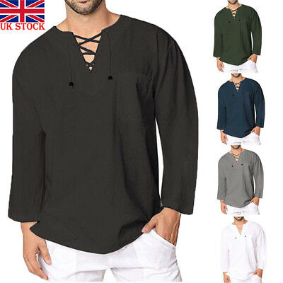 Men's Cotton Linen T Shirt Tops Casual Loose Lace Up V Neck Long Sleeve Tee UK