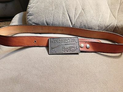 "Vintage 1970's Winchester Repeating Arms Belt Buckle w/Stocko Leather 36"" Belt"