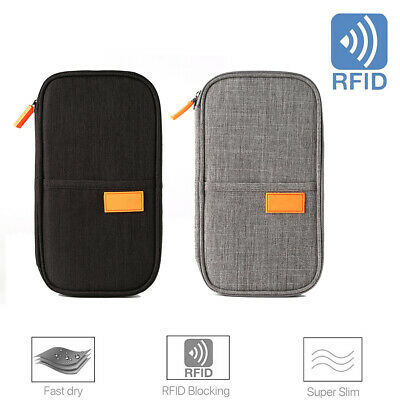 Travel Wallet RFID Blocking Anti Scan Long Passport Card Coin HolderOrganizer