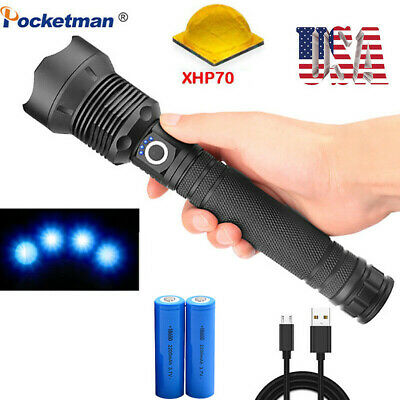 200000LM XHP70 LED Flashlight Rechargeable Zoom 3Mode Tactical Torch Light 18650