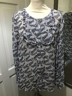 c4027f16706467 WHITE STUFF Floral Swallow Bird Print Blouse Top UK Size 10 Long Sleeve  Spring