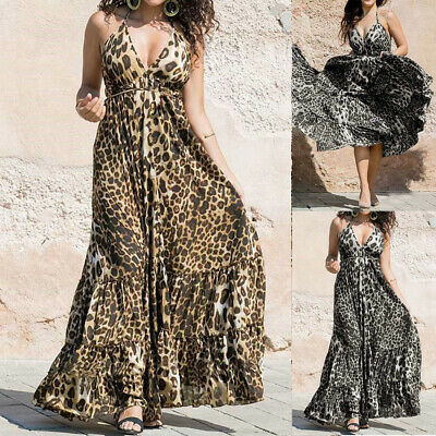 Womens Sexy Summer Backless Sleeveless Leopard Print Boho Beach Maxi Dress