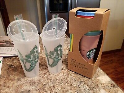 Starbucks Color Changing Cold Cups Complete Set PLUS 2 SIRENS  24oz NEW!