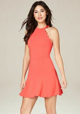 NEW NWT Bebe Women's Coral Cay Halter Cut Scallop Detail Dress Sz 4