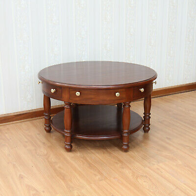 Solid Mahogany Round Coffee Table with 6 storage drawers NEW T007