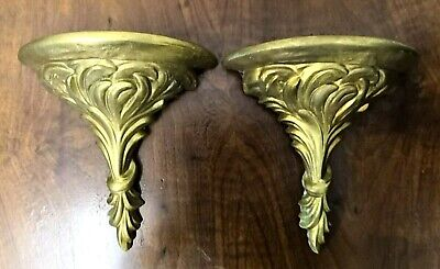 2x Vintage Hanging Shelf Baroque Support Wall Rococo Antique Brass Decor Plaster