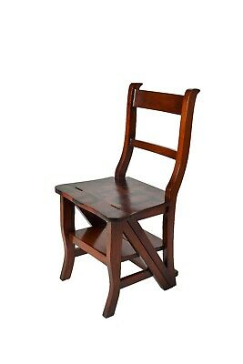 Solid Mahogany 'Metamorphic' Office / Library Step Chair Letter Artwork AHM-A175
