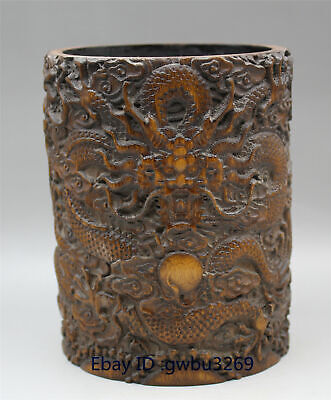 Exquisite Chinese Bamboo Pen holder Carved Hand carved Dragon Brush Pot