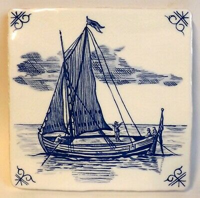 "19th Century Style Blue & White Delft Tile, 5"" x 5"" Sailing Boat, Brand New"