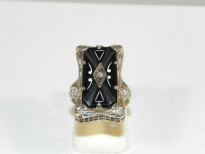 Vintage 14K White Gold Filigree Art Deco Onyx Diamond Rectangular Ring Size4 3/4