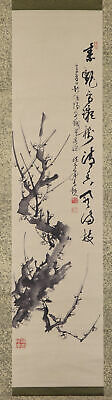 "JAPANESE HANGING SCROLL ART Painting ""Plum blossoms"" Asian antique  #E7438"