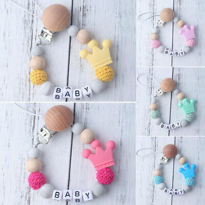 Baby Silicone&Wooden Pacifier Clip Soother Chain Nipple Teether Strap Chain Safe