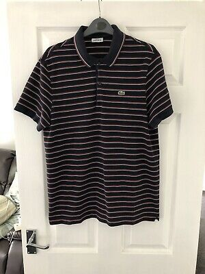 844b4067 Lacoste Men's Polo Shirt Navy Blue Red Stripes Size 6 Large L Slim Fit Ptp  20.5