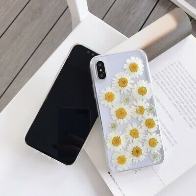 Soft Epoxy Daisy Real Flower Transparent Case For iPhone XS Max XR 8 7 Plus 6S