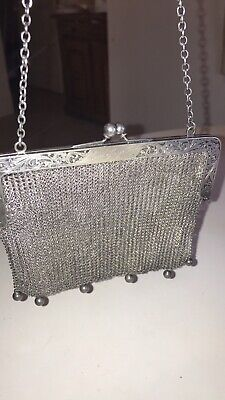 Reasonable Antique Art Nouveau Floral German Silver Frame 5 Ball Fringe Mesh Coin Purse A Great Variety Of Goods Vintage Accessories