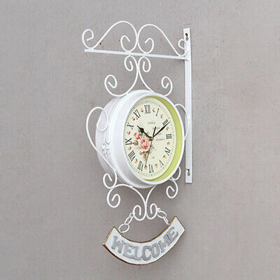 Bracket Wall clock White Iron Decoration Ornament Cockerel Bell Outdoor Double