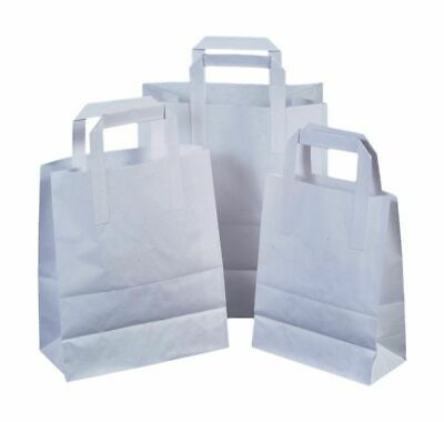 100Small White Kraft Paper Carrier Sos Takeaway Bags With Flat Handle Party Take