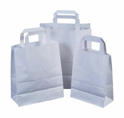 150 Small White Kraft Paper Carrier Sos Takeaway Bags With Flat Handle