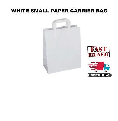 10 Premium Quality Small SOS Kraft Craft WHITE Paper Takeaway Food Carrier Bags