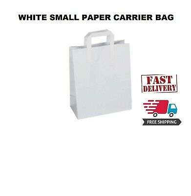 250 Premium Quality Small SOS Kraft Craft WHITE Paper Takeaway Food Carrier Bags
