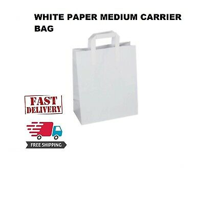 50 Premium Quality MEDIUM SOS Kraft Craft WHITE Paper Takeaway Food Carrier Bags