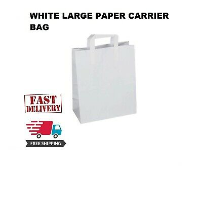150 Premium Quality LARGE SOS Kraft Craft WHITE Paper Takeaway Food Carrier Bags