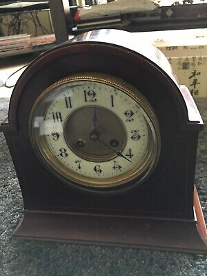 Antique French Wooden Chiming Mantle Clock Circa 1900 Needs Work