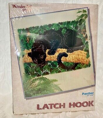 Caron Wonderart Latch Hook Rug Kit Black PANTHER Size 24X34 NEW in Sealed Box